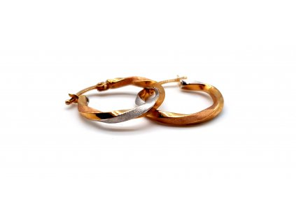 Zlaté kruhové náušnice tricolour -2cm