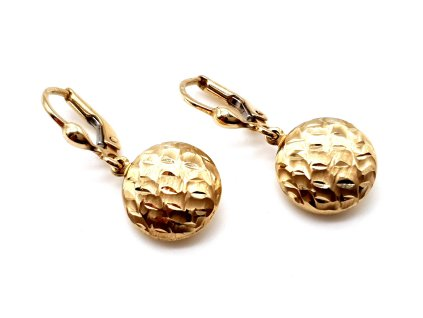 Originální visací náušnice ze žlutého zlata