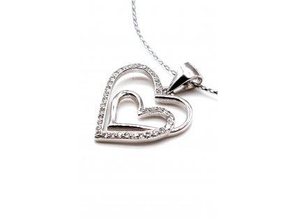 Přívěšek s dvojitým srdcem zdobeným zirkony