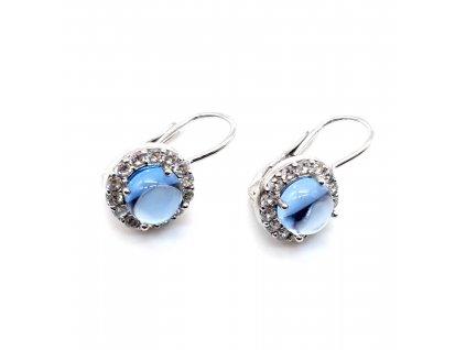 Stříbrné náušnice s dominantním světle modrým kamenem
