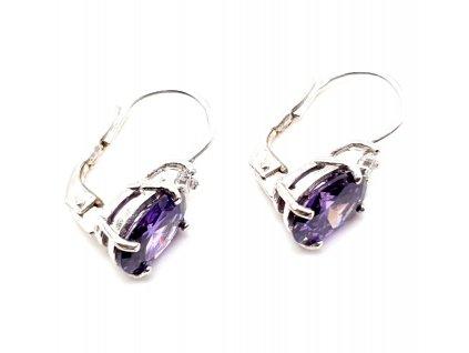 Drobné náušnice s fialovým kamenem