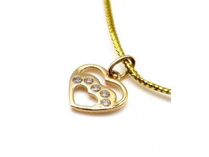 Drobné srdce ze žlutého zlata zdobené zirkony