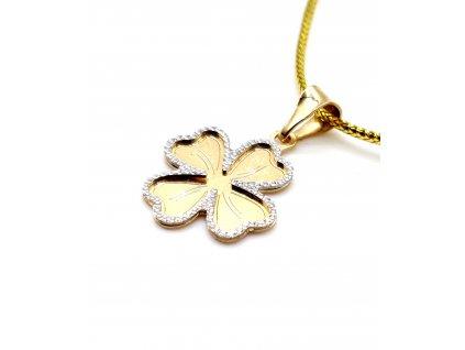82356 bi color ctyrlistek z bileho a zluteho zlata