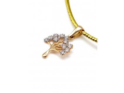 82857 drobny strom zivota ze zluteho zlata zdobeny zirkony