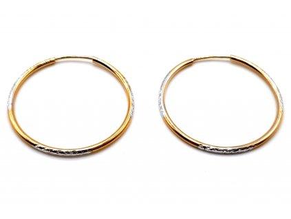 82506 elegantni bicolour kruhove nausnice z bileho a zluteho zlata 2 5 cm