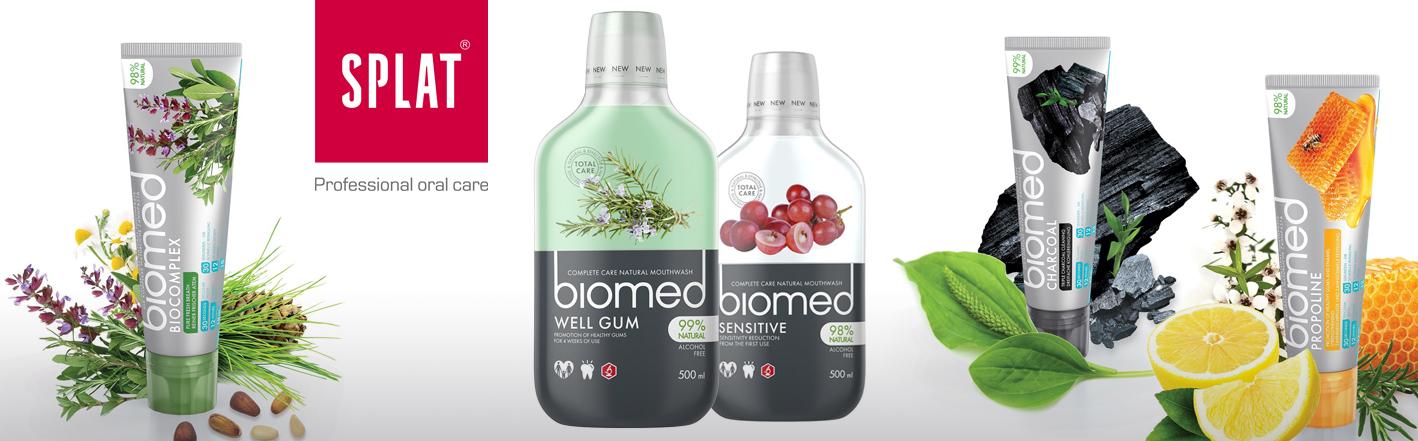 Zubní pasty a ústní vody Splat a  Biomed