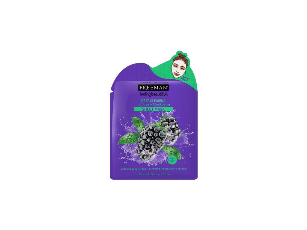 FREEMAN látková hluboce čisticí maska teatree - ostružina 25ml