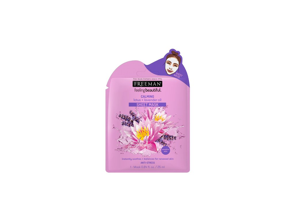 FREEMAN látková uklidňující maska lotos - levandulový olej 25ml