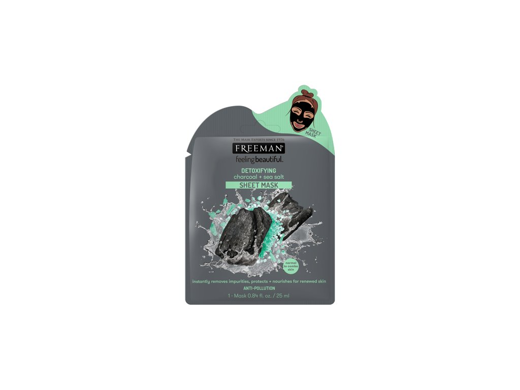 FREEMAN látková detoxikační maska aktivní uhlí - mořská sůl 25ml