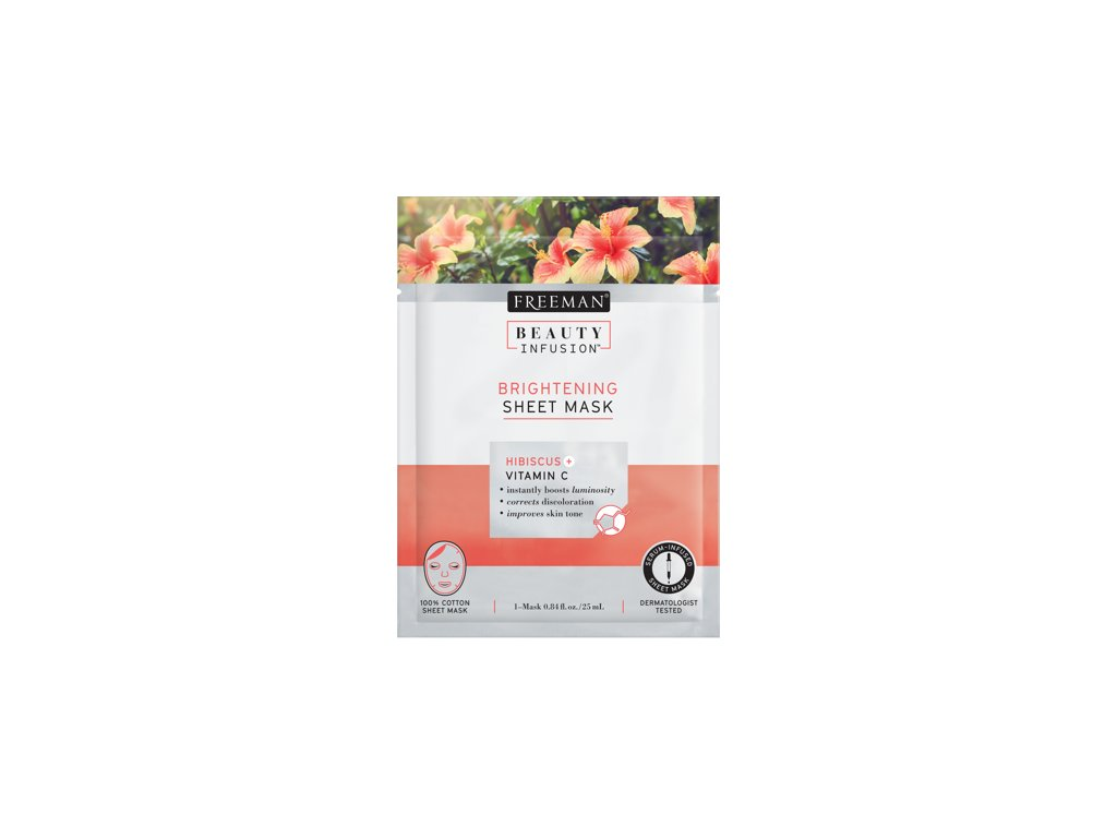 FREEMAN BI-Rozjasňující látková maska ibišek + vitamín C + sérum 25ml