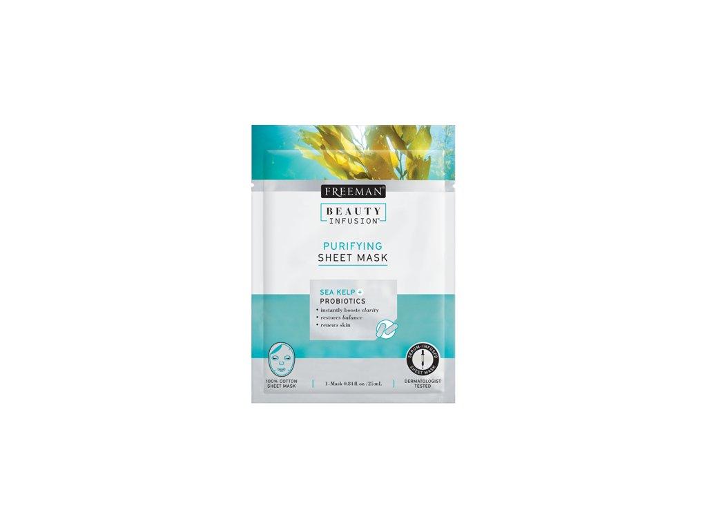 FREEMAN BI-Čistící látková maska mořské řasy + probiotika + sérum 25ml