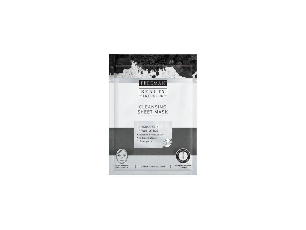 FREEMAN BI-Čistící látková maska dřevěné uhlí + probiotika + sérum 25ml