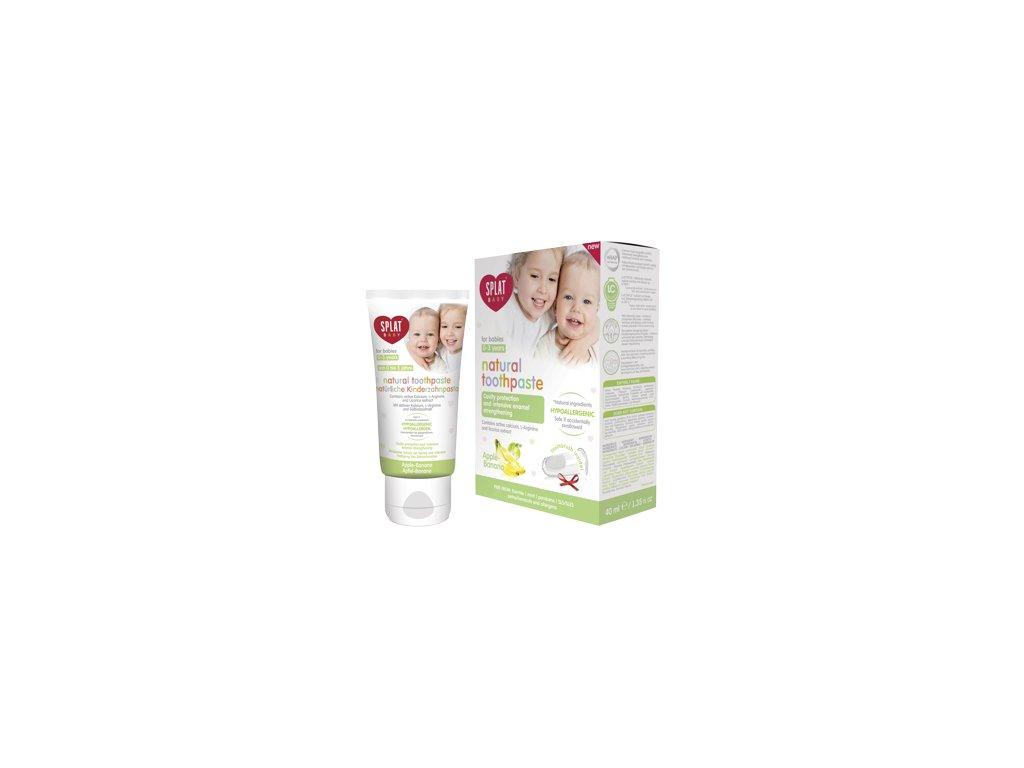 SPLAT Baby 0-3 přírodní zubní pasta + silikonový kartáček APPLE-BANANA 40ml