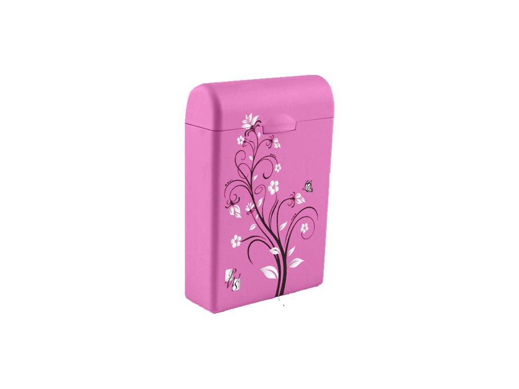 TAMPONBOX - pouzdro na tampony tmavě růžový Flower