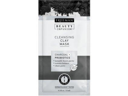FREEMAN BI-Čistící jílová maska dřevěné uhlí + probiotika + sérum sachet 15ml