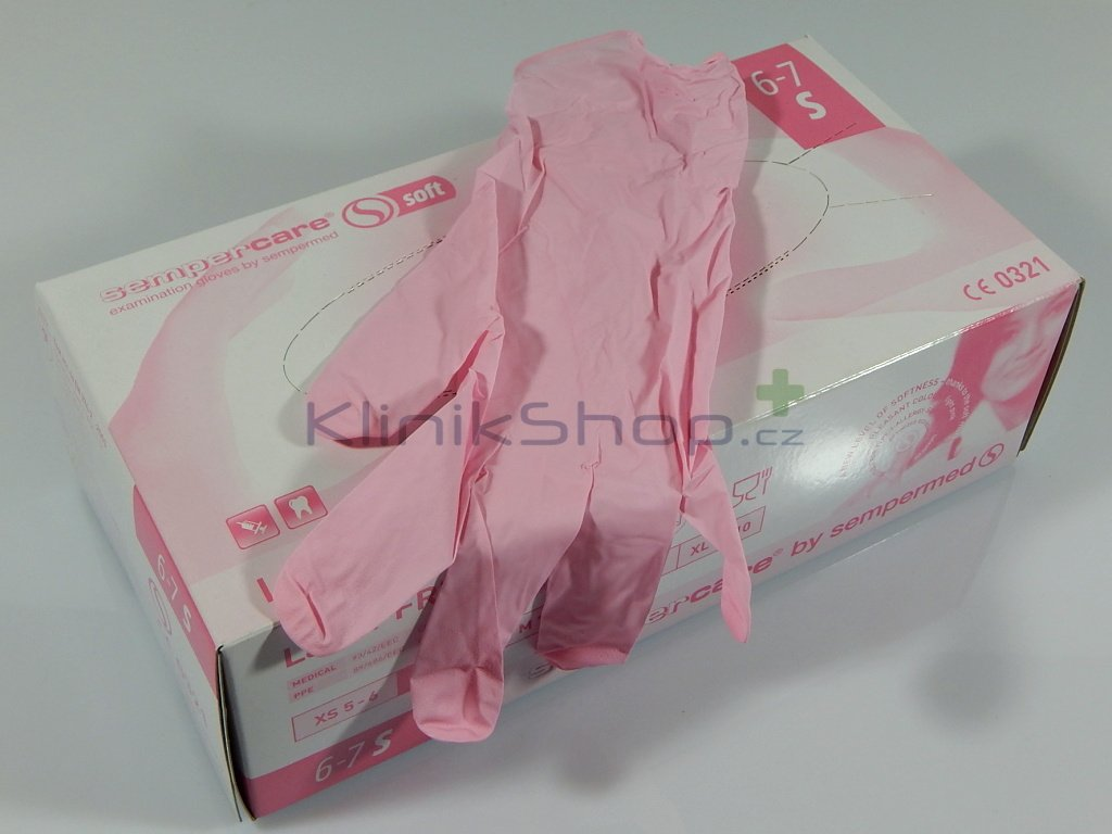 Růžové nitrilové rukavice Box