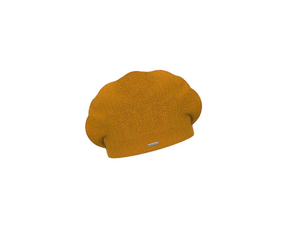 damsky vlneny pleteny baret manon hořčicový