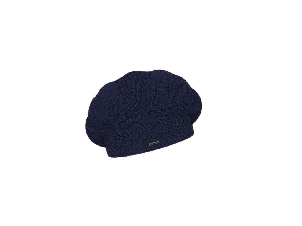 damsky pleteny baret manon tmave modry