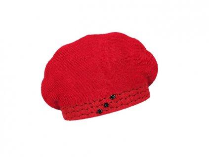 damsky pleteny baret chantal cervena
