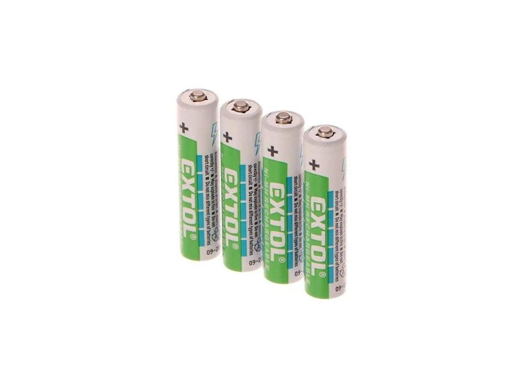 Baterie nabíjecí 1,2V AAA (HR03), 1000mAh, NiMh, 4 kusy - EXTOL ENERGY EX42060