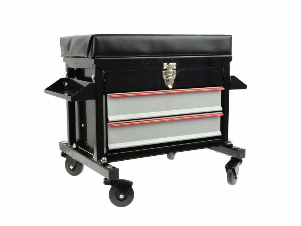 Dílenské montážní sedátko pojízdné, se zásuvkami a držáky