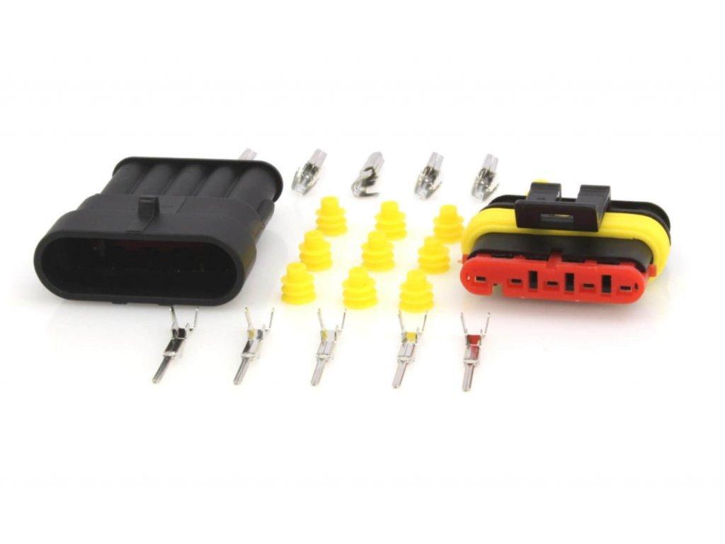 Elektrický konektor vodotěsný, tzv. štekr, pětikontaktový, 5P/1,5 - ASTA