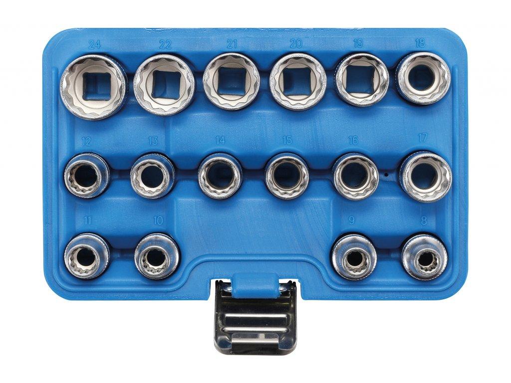 "Hlavice 12-hranné nástrčné 1/2"" 8,0-24,0 mm, 16 dílů - BGS 2226"