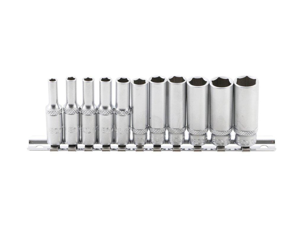 """Hlavice nástrčné 1/4"""" 4,0-13,0 mm, prodloužené, na kolejnici - BGS 2221"""