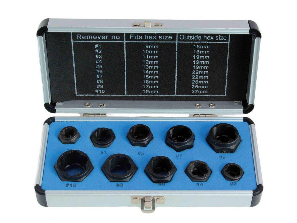 Hlavice nástrčné pro poškozené šrouby, 9 - 19 mm, nízkoprofilové, sada 10 ks - SATRA