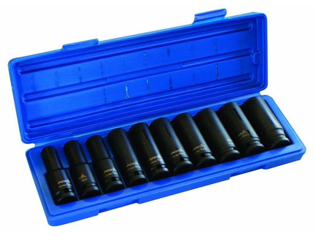 """Hlavice nástrčné úderové 1/2"""", 10 - 24 mm, 6hranné, prodloužené, sada 10 ks - ASTA"""