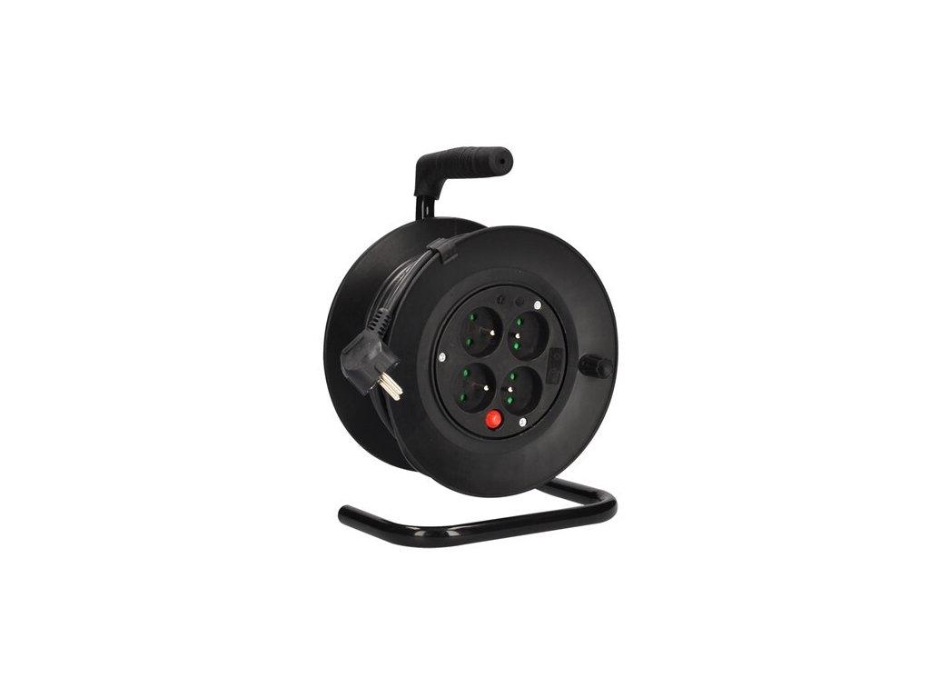 Prodlužovací kabel 15 m na bubnu, 3 x 1,0 mm2, 4 zásuvky, černý