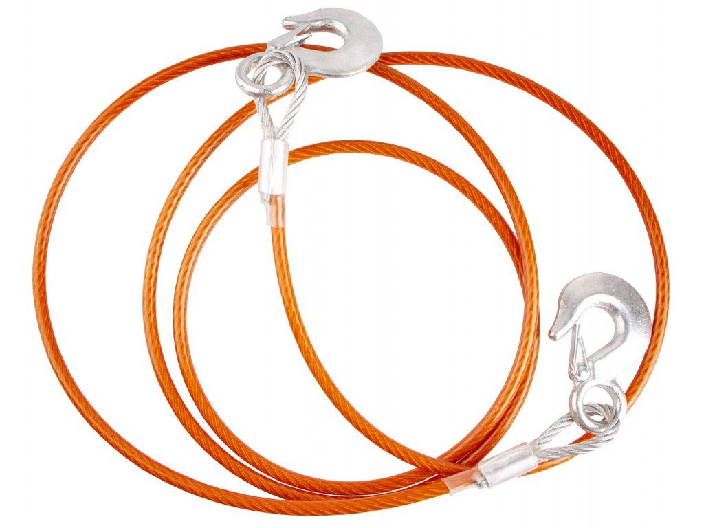 Tažné lano 2,5 tuny, délka 3,5 m, s háky, ocelové - HOTECHE