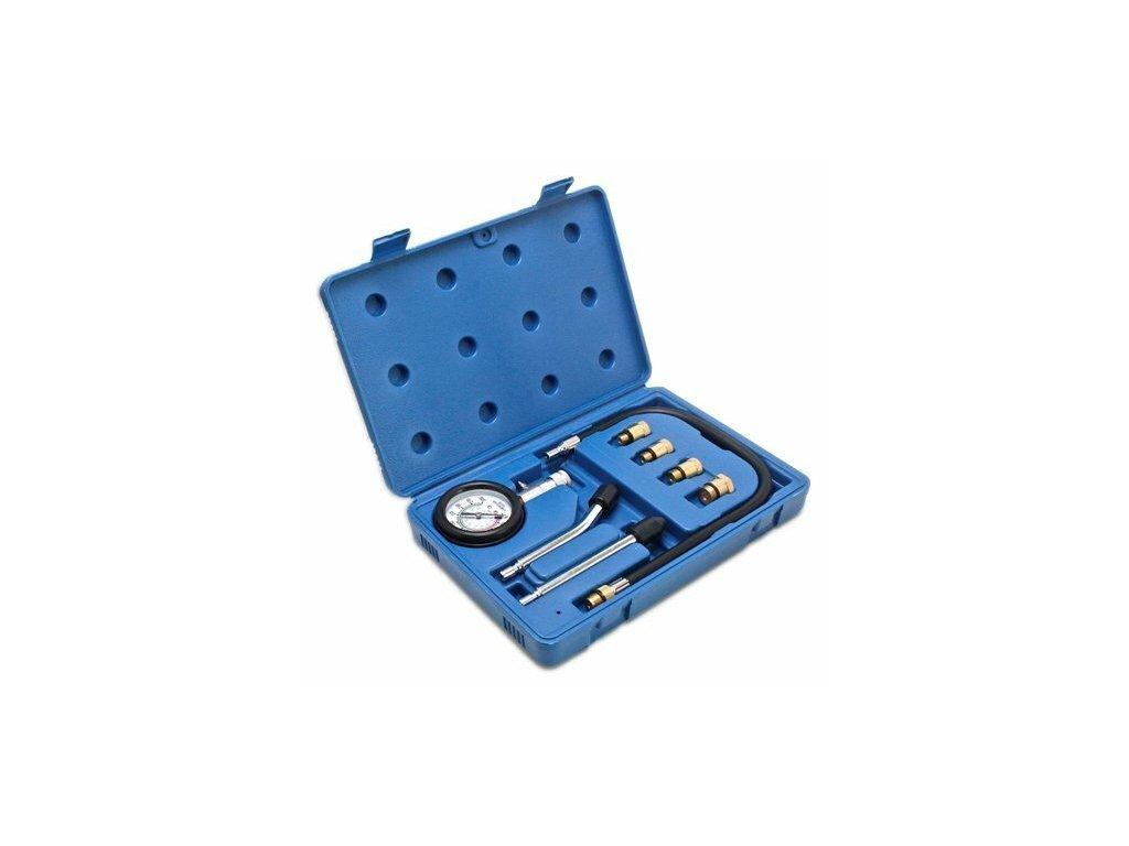 Kompresiometr - tester komprese pro benzínové motory, 0 - 21 bar, 8 dílů - SATRA