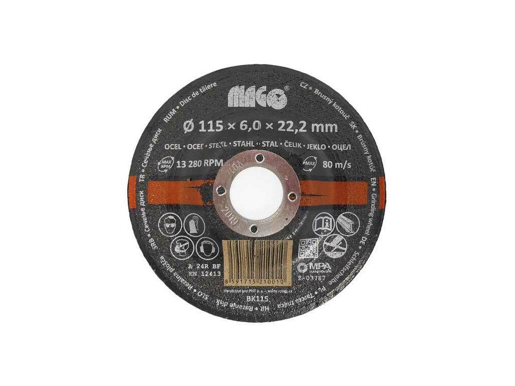 Kotouč brusný na kov 115 x 6 x 22,2 mm - MAGG BK115