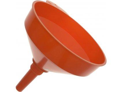Plastový trychtýř - nálevka, se sítkem a vnějším závitem, průměr 190 mm, závěsné očko