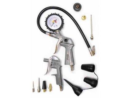 Pneumatická sada - pneuhustič s manometrem, ofukovací pistole s nástavci, 12 dílů