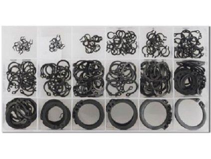 Pojistné kroužky na hřídele - vnější segrovky, průměr 3 - 32 mm, sada 300 kusů