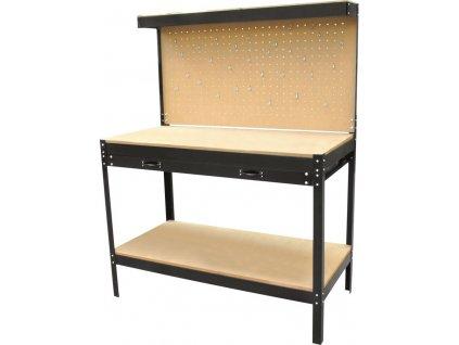 Pracovní stůl - dílenský ponk 120 x 60 x 151 cm, se závěsnou stěnou, zásuvkou a poličkou