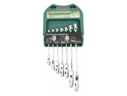 Sada ráčnových očkoplochých klíčů s kloubem v pořadníku, 7 ks, 8-19 mm - JONNESWAY W66107S
