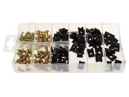 Samořezné šrouby a pružné matice pro karosérie, různé rozměry, sada 170 kusů