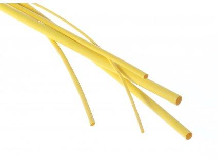 Bužírky - hadičky smršťovací, různé rozměry, délka 1 m, polyetylen - žlutá