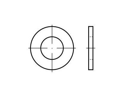 Podložky ploché DIN 125, pozinkované, pro 6hranné šrouby, různé rozměry