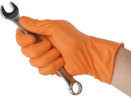Rukavice nitrilové extra odolné s gripem, jednorázové, oranžové, různé velikosti - Kunzer