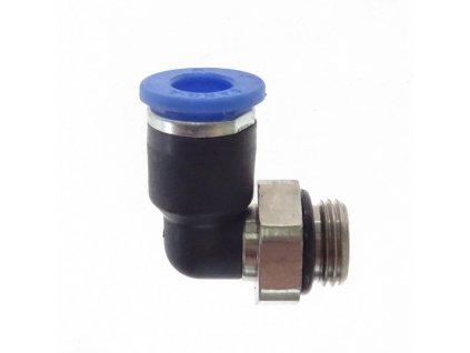 """Přípojka pneumatická zahnutá typ L - kolínko, závit 1/4"""" AG, pro hadici 6 mm"""