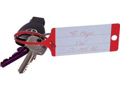 Klíčenky - visačky na klíče se štítkem a poutkem, plast, různé barvy, balení 100 ks