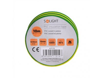 Elektrikářská páska PVC izolační 15 mm x 10 m, žlutozelená