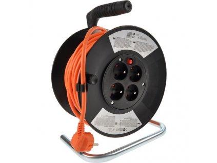Prodlužovací kabel 25 m na bubnu, 3 x 1,5 mm2, 4 zásuvky, oranžový
