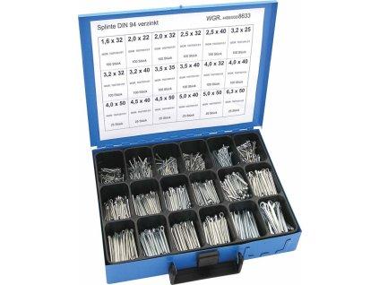 Závlačky DIN 94 1.6x32-6.3x50 mm, pozinkované, extra sada 1350 ks v kufru