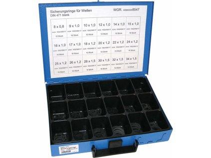 Pojistné kroužky na hřídel - vnější segrovky DIN 471, 8x0.8-34x1.5 mm, sada 180 ks v kufru