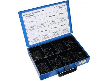 Trhací nýty plastové 3,9x15,6-6,3x28,9 mm, sada 180 ks v kufru